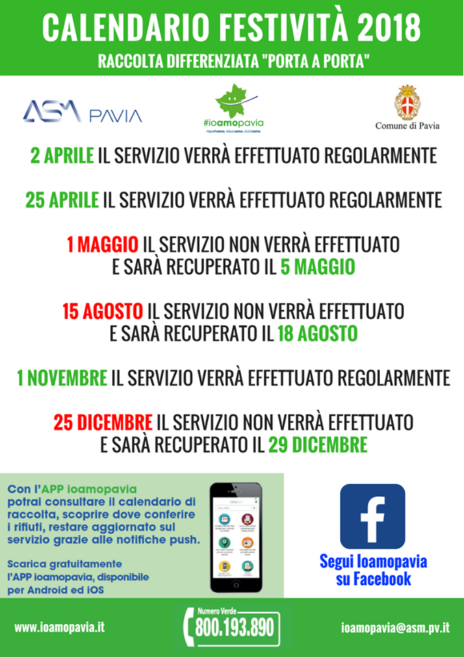 Calendario Differenziata.Calendario Festivita 2018 Raccolta Differenziata Comune Di